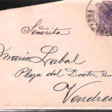 Sellos: CARTA DE 1915 DE BARCELONA A VENDRELL FRANQUEO ALFONSO XIII MEDALLON. Lote 102101619