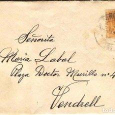 Sellos: CARTA DE 1915 DE BARCELONA A VENDRELL FRANQUEO ALFONSO XIII MEDALLON. Lote 102101691