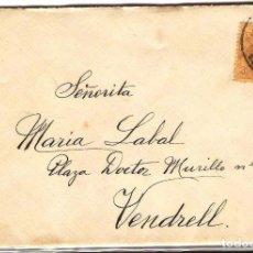 Sellos: CARTA DE 1915 DE BARCELONA A VENDRELL FRANQUEO ALFONSO XIII MEDALLON. Lote 102101767