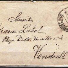 Sellos: CARTA DE 1915 DE BARCELONA A VENDRELL FRANQUEO ALFONSO XIII MEDALLON. Lote 102101915