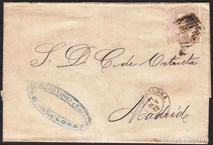 ENVUELTA DE BARCELONA A MADRID FRANQUEO Nº 122 ROMBO PUNTOS (Sellos - España - Alfonso XII de 1.875 a 1.885 - Cartas)