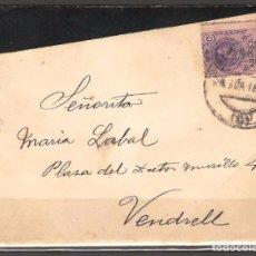 Sellos: CARTA DE BARCELONA A VENDRELL DE 1916 FRANQUEO 15C ALFONSO XIII. Lote 102103903