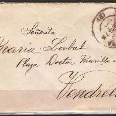 Sellos: CARTA DE BARCELONA A VENDRELL DE 1916 FRANQUEO 15C ALFONSO XIII. Lote 102103995