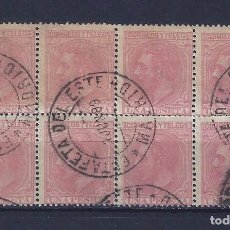 Sellos: EDIFIL 207 ALFONSO XII. 1879 (BLOQUE DE 8). MATASELLOS ESTAFETA DEL ESTE (MADRID). 01-06-1889. LUJO.. Lote 102762347