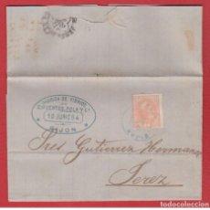 Sellos: GIJÓN 1884 - FABRICA VIDRIOS CIFUENTES POLA - ALFONSO XII BOCABAJO - MATASELLO AZUL - BONITA PIEZA. Lote 102945671