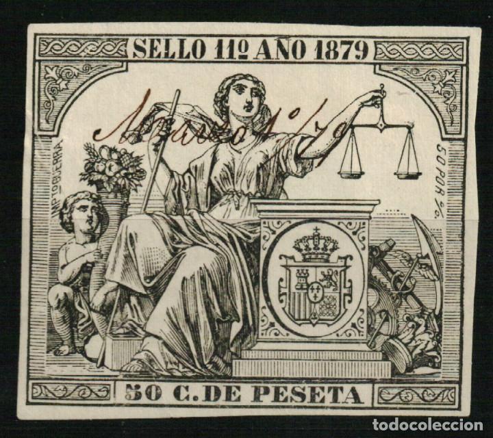 FISCAL PÓLIZA DE 50 C. DE PESETA DE 1879 (Sellos - España - Alfonso XII de 1.875 a 1.885 - Usados)