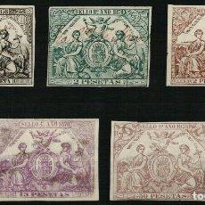Sellos: FISCALES 5 PÓLIZAS DE 1878. Lote 108325183