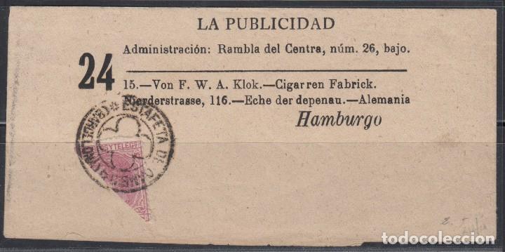 ESPAÑA, FAJA DE PRENSA -LA PUBLICIDAD- CIRCULADO A HAMBURGO , SELLO BISECTADO 10 CTS (Sellos - España - Alfonso XII de 1.875 a 1.885 - Cartas)