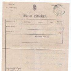 Timbres: RESGUARDO DE DESPACHO TELEGRÁFICO. NOGALES. LUGO. 1878. AL ABOGADO VÁZQUEZ CURIEL. Lote 117363939