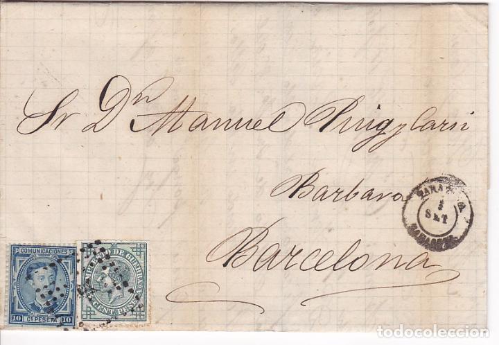 F21-23- CARTA COMPLETA TARAZONA (ZARAGOZA)- BARCELONA 1876. ETIQUETA CIERRE (Sellos - España - Alfonso XII de 1.875 a 1.885 - Cartas)