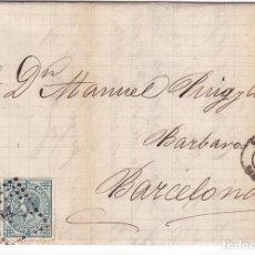 Selos: F21-23- CARTA COMPLETA TARAZONA (ZARAGOZA)- BARCELONA 1876. ETIQUETA CIERRE. Lote 118298335