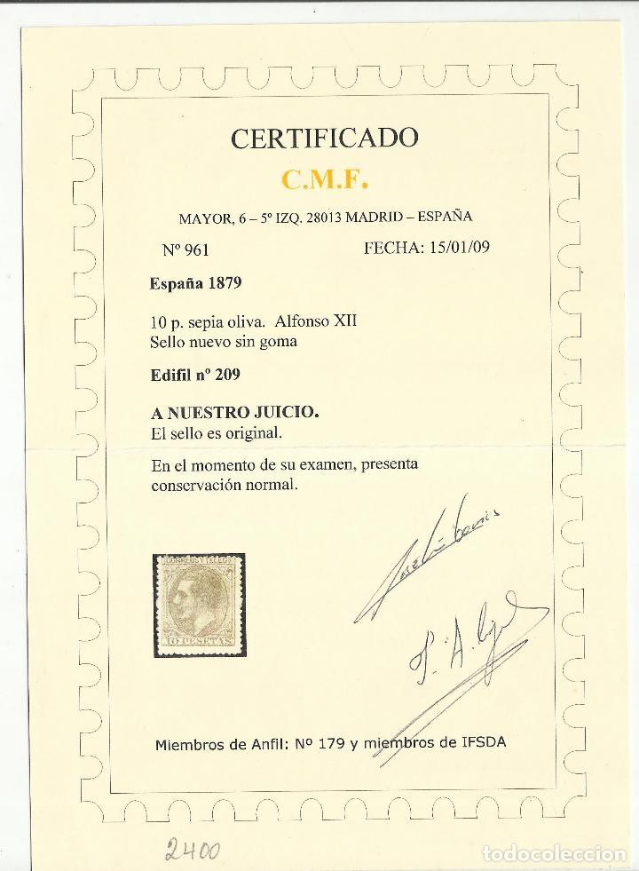Sellos: alfonso XII 1879 edifil 209 nuevo(*) valor 2018 catalogo 2.550 euros certificado - Foto 2 - 122697535