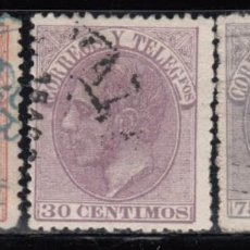 Sellos: ESPAÑA, 1882 EDIFIL Nº 210, 211, 212. Lote 125036963