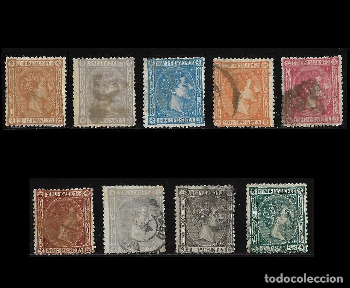 1875 ALFONSO XII.LOTE.MATASELLO EDIFIL.162 -170 (Sellos - España - Alfonso XII de 1.875 a 1.885 - Usados)