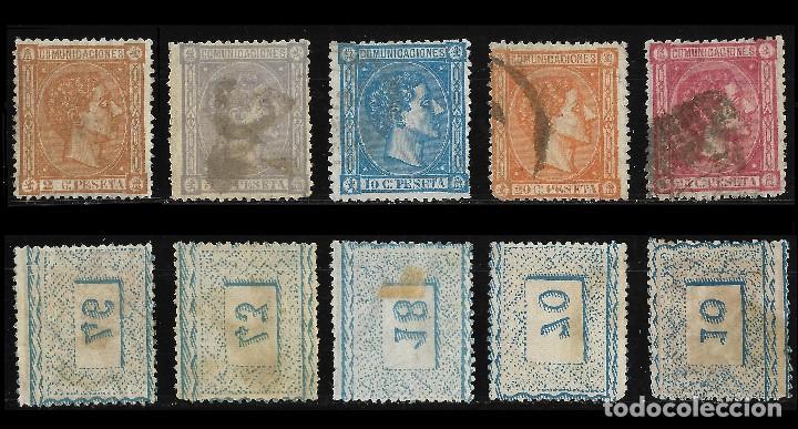 Sellos: 1875 Alfonso XII.Lote.Matasello Edifil.162 -170 - Foto 2 - 126674783