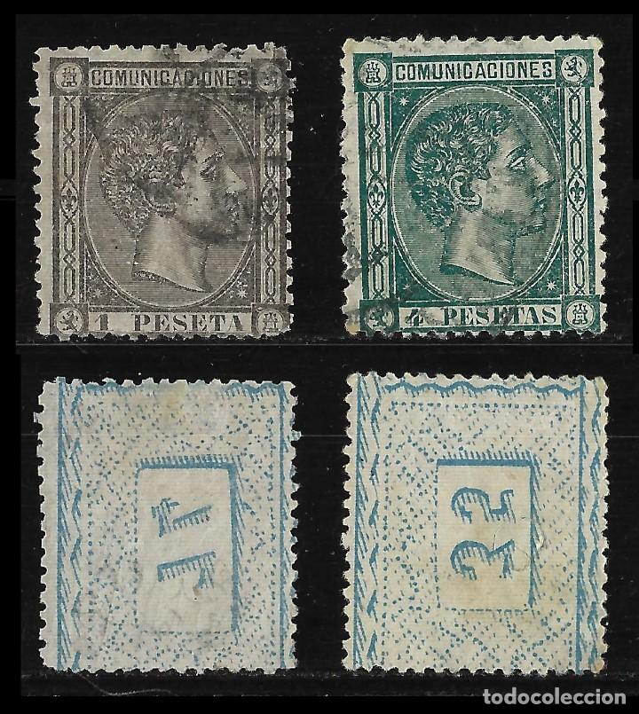 Sellos: 1875 Alfonso XII.Lote.Matasello Edifil.162 -170 - Foto 4 - 126674783
