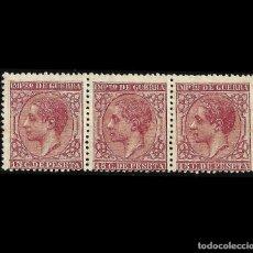 Sellos: 1877 ALFONSO XII. 15 C CARMÍN. BLOQUE DE 3. NUEVO, EDIF. Nº 188. Lote 127352611