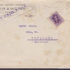Timbres: HP9-5-CARTA RUIZ & SOLVES IMPORT. ALFONSO XIII VAQUER. TANGER RODILLO 1939.. Lote 130204743