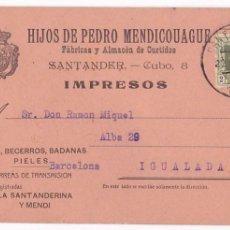 Francobolli: F4-21- TARJETA POSTAL ALMACÉN DE CURTIDOS SANTANDER 1925. Lote 130207771