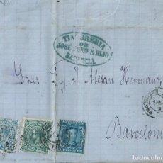 Sellos: CARTA DE 1877 A BARCELONA, CON IMPUESTO DE GUERRA DE 5 Y 10 CTS, Y MATASELLOS FECHADOR DE SABADELL.. Lote 131572670