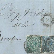 Sellos: CARTA DE 1877 DE PALMA DE MALLORCA A BARCELONA, CON IMPUESTO DE GUERRA DE 5 Y 10 CTS,. Lote 131572834