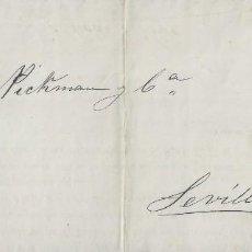 Sellos: CIRCULAR DE 1877 DE VILLAVICIOSA A SEVILLA, RARO EL 1/4 CON MATASELLOS FECHADOR.. Lote 131573234