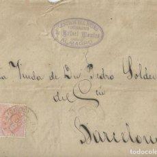 Sellos: SOBRE DE 1884 A BARCELONA CON MATASELLOS TRÉBOL DE ALMAGRO.. Lote 131573454