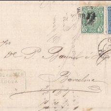 Sellos: F27-55- CARTA COMPLETA ZARAGOZA 1876. IMPTº GUERRA Y RAROS MATASELLOS MUDOS 0. Lote 133476910