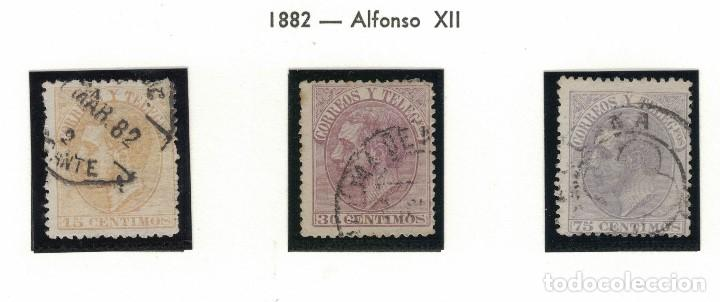 ALFONSO XII 1882 TRIO 15, 30 Y 75 CÉNTIMOS. S031 (Sellos - España - Alfonso XII de 1.875 a 1.885 - Usados)