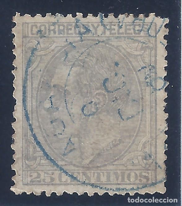 EDIFIL 204 ALFONSO XII. 1879. MATASELLOS AZUL. EXCELENTE CENTRADO. (Sellos - España - Alfonso XII de 1.875 a 1.885 - Usados)