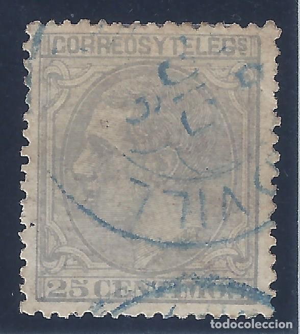 EDIFIL 204 ALFONSO XII. 1879. DOBLE MATASELLOS AZUL. EXCELENTE CENTRADO. (Sellos - España - Alfonso XII de 1.875 a 1.885 - Usados)