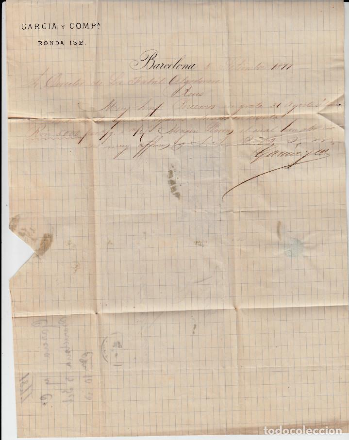 Sellos: CARTA DE GARCIA Y CIA RONDA, 132 EN BARCELONA CON SELLOS NUMS. 175-183-184 Y MATASELLOS LIMADO - Foto 2 - 137903966