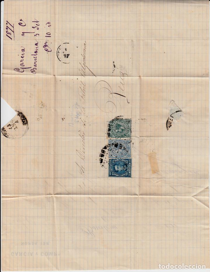 Sellos: CARTA DE GARCIA Y CIA RONDA, 132 EN BARCELONA CON SELLOS NUMS. 175-183-184 Y MATASELLOS LIMADO - Foto 3 - 137903966