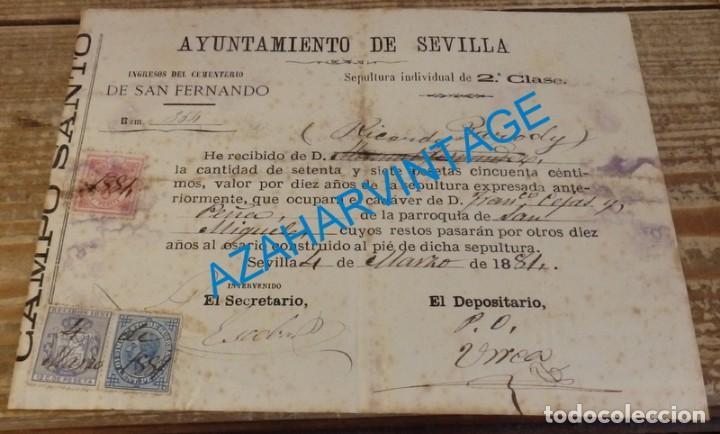 SEVILLA, 1881, RECIBO AYUNTAMIENTO, TIMBRE MUNICIPAL+IMPUESTO DE GUERRA+RECIBOS 1881 (Sellos - España - Alfonso XII de 1.875 a 1.885 - Cartas)