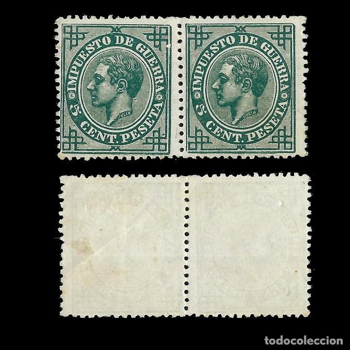 Sellos: ALFONSO XII 1876 Alfonso XII. Impuesto de Guerra. 2c verde. Nuevo. Edif.nº183 - Foto 2 - 140301922