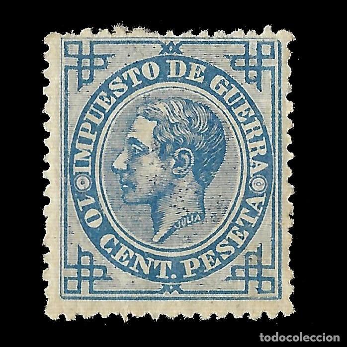 ALFONSO XII 1876 ALFONSO XII. IMPUESTO DE GUERRA. 10C AZUL. NUEVO. EDIF.Nº184 (Sellos - España - Alfonso XII de 1.875 a 1.885 - Nuevos)