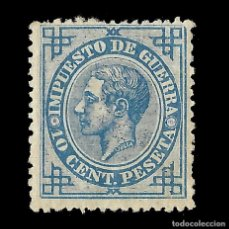 Sellos: ALFONSO XII 1876 ALFONSO XII. IMPUESTO DE GUERRA. 10C AZUL. NUEVO. EDIF.Nº184. Lote 140302518