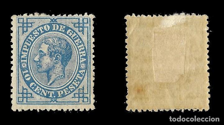 Sellos: ALFONSO XII 1876 Alfonso XII. Impuesto de Guerra. 10c azul. Nuevo. Edif.nº184 - Foto 2 - 140302518