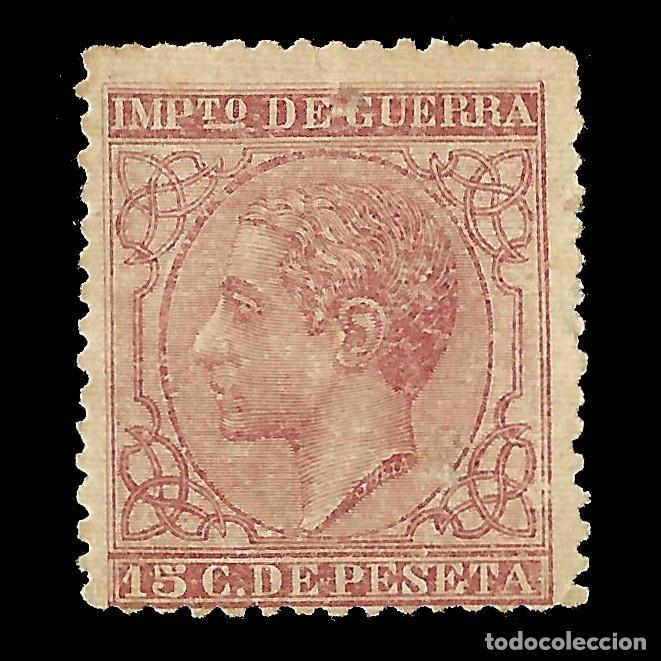 ALFONSO XII 1877 ALFONSO XII. IMPUESTO DE GUERRA. 15C CARMÍN. NUEVO. EDIF.Nº188 (Sellos - España - Alfonso XII de 1.875 a 1.885 - Nuevos)