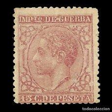 Sellos: ALFONSO XII 1877 ALFONSO XII. IMPUESTO DE GUERRA. 15C CARMÍN. NUEVO. EDIF.Nº188. Lote 140307062