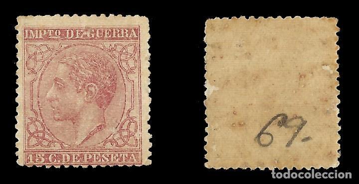 Sellos: ALFONSO XII 1877 Alfonso XII. Impuesto de Guerra. 15c carmín. Nuevo. Edif.nº188 - Foto 2 - 140307062