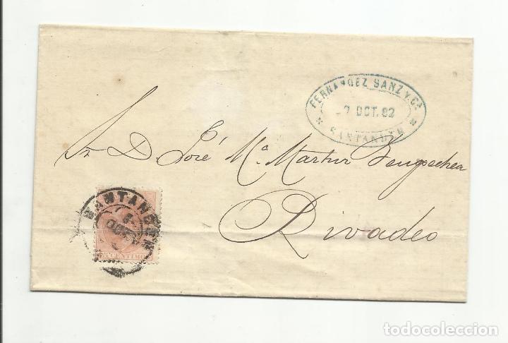 ALFONSO XII CIRCULADA 1882 DE SANTANDER A RIVADEO (Sellos - España - Alfonso XII de 1.875 a 1.885 - Cartas)