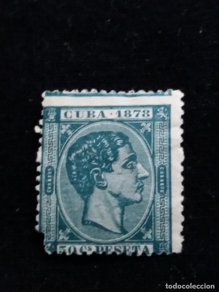 SELLO CORREOS ESPAÑA 50 C. DE PESETA.- ALFONSO XII. CUBA USADO. AÑO1878 (Sellos - España - Alfonso XII de 1.875 a 1.885 - Usados)