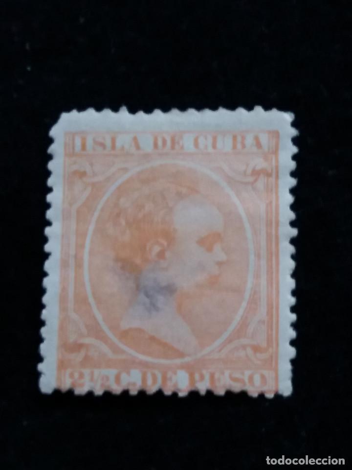 SELLO CORREOS ESPAÑA. 2,1/2 C. DE PESO - ALFONSO XIII ISLA DE CUBA. USADO. AÑO1886 (Sellos - España - Alfonso XII de 1.875 a 1.885 - Usados)