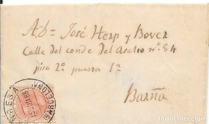 EDIFIL 210. ENVUELTA DE MANRESA A BARCELONA. 15-JUN-1886 (Sellos - España - Alfonso XII de 1.875 a 1.885 - Cartas)