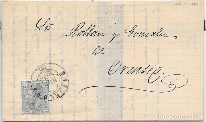 EDIFIL 204. VARIEDAD DE COLOR GRIS. ENVUELTA DE BARCELONA A ORENSE. 22-NOV-1880 (Sellos - España - Alfonso XII de 1.875 a 1.885 - Cartas)