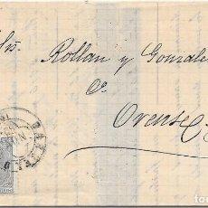 Sellos: EDIFIL 204. VARIEDAD DE COLOR GRIS. ENVUELTA DE BARCELONA A ORENSE. 22-NOV-1880. Lote 141187762