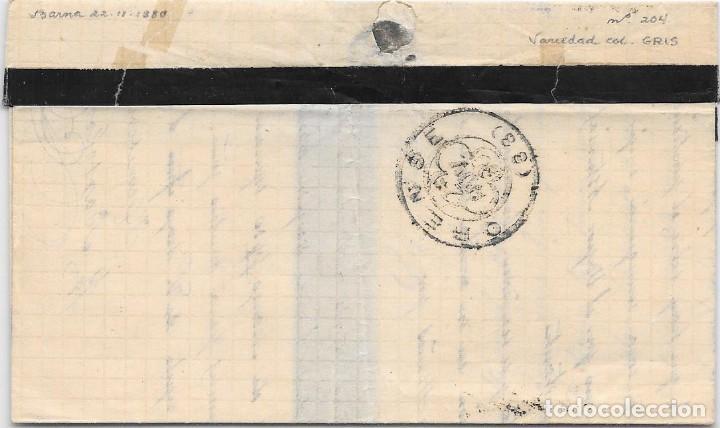 Sellos: EDIFIL 204. VARIEDAD DE COLOR GRIS. ENVUELTA DE BARCELONA A ORENSE. 22-NOV-1880 - Foto 2 - 141187762