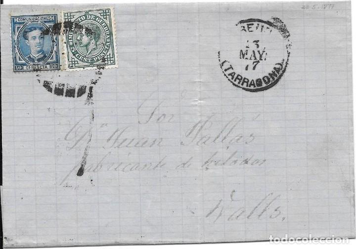 EDIFIL 175-183. ENVUELTA DE REUS A VALLS. 13-MAY-1877 (Sellos - España - Alfonso XII de 1.875 a 1.885 - Cartas)
