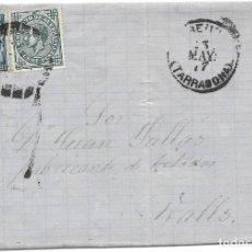 Sellos: EDIFIL 175-183. ENVUELTA DE REUS A VALLS. 13-MAY-1877. Lote 141190102